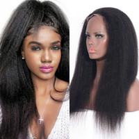 encaje yaki completo de malasia al por mayor-Kinky Straight Full Lace Pelucas de cabello humano Yaki Lace Pelucas Malasio blanqueado 150% Density Lace Front Pelucas Ping