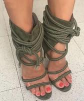 bej parti sandaletleri toptan satış-2018 Drop Shipping Yaz Kadın Ordu Yeşil / Siyah / Bej Çapraz Dantel Up Halatlar Parti Stiletto Topuk Kapak Topuk Yüksek Topuk Sandalet Ayakkabı