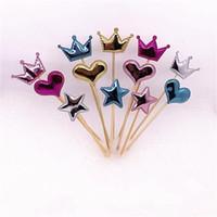 ingrosso torte di compleanno forma del cuore-Fashion Cupcake Flag Corona a forma di stella a cinque punte Cuore a forma di torta Topper Decorazioni colorate per feste di compleanno Forniture 1 1lj BB