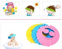 ingrosso cappelli da bagno per bambini-Baby cute doccia shampoo cappello cuffia per il bagno visiera berretti impermeabili per la doccia tappi per le orecchie pieghevoli berretto da bagno regolabile taglia A