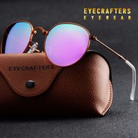 óculos de sol para mulheres roxas venda por atacado-Roxo Portátil Dobrável Dobrável Óculos De Sol Polarizados Das Mulheres Dos Homens de Moda Retro Óculos De Sol Do Vintage de Condução Espelhado Eyewear