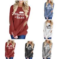 camisetas de talla grande mujer al por mayor-Mamá Osa Gráfico T camisetas mujeres del otoño parcheado monograma Jerseys Moms camisetas 2018 de la moda Mama Tops más el tamaño S-2XL 21 estilos C5271