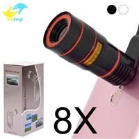 lente telescópica zoom 8x venda por atacado-8x zoom telescópio lente telefone lente unniversal câmera óptica teleobjectiva len telefone com clipe para iphone samsung lg htc sony smartphone