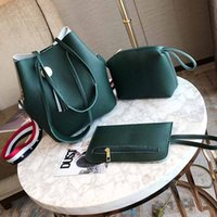 Wholesale women leather belt tassel resale online - 5 colors choose wooden bead Tassel Bucket bag pu leather drawstring bag with contrast color belt set