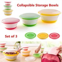Wholesale Circular Set - Silicone Circular Collapsible Covered Storage Camping Bowls with Lids Food Container Outdoor Portable Soft Lunch Box 3pcs Set OOA3447