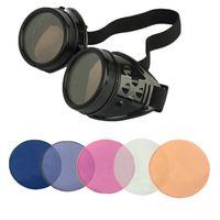ingrosso lente antica-Steampunk Antique Vintage Occhiali di sicurezza con 5 colori Set di lenti sostitutive a caso o scelto