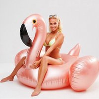 Wholesale gold pool - 2018 Rose Gold Inflatable Flamingo Swimming Float Tube Raft Adult Giant pool Float Swimming Ring Summer Water Fun Pool Toys