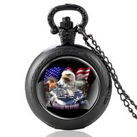 schwarzer adler anhänger großhandel-Fashion Black United Wir Staaten Navy Schlachtschiff Quarz Taschenuhr Charme US Eagle Anhänger Halskette Uhren