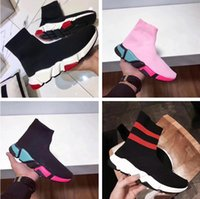 Wholesale White Boot Soles - Colorful Sole Speed Trainer Woman Casual Shoes High Top Stretch Knit Sock Boots Casual Cheap Sneaker Red White Pink Size 35-44 Original Box