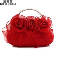 3d68d3ee6 Rosa flor de encaje de la novia del bolso de noche vestido completo fiesta  bolso de la boda de las mujeres del embrague de la señora del regalo bolsas  de ...