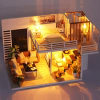 kit de construction achat en gros de-NOUVEAU DIY Miniature Mini DollHouse Modèle Kits de Construction Meubles En Bois Jouets Simple et Style élégant Jouets pour Filles Garçons
