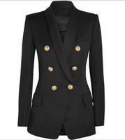 б куртки оптовых-Новый с лейблом бренда B высокое качество оригинальный дизайн женская двубортный тонкий куртка металлические пряжки блейзер ретро Шаль воротник пиджаки