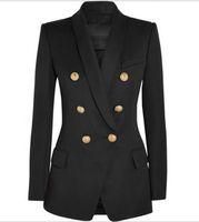 chaquetas cruzadas para mujer al por mayor-Nuevo con etiqueta de marca B de calidad superior del diseño mujeres original de la chaqueta delgada Double-breasted hebillas de metal Blazer retro collar Outwear Mantón