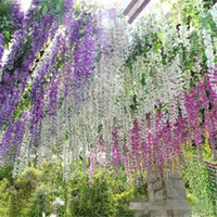 Wholesale Silk Wedding Bouquet Lilies - Romantic Artificial Flowers Simulation Wisteria Vine Wedding Decorations Long Short Silk Plant Bouquet Room Office Garden Bridal Accessories
