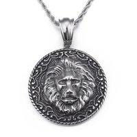 colgante de fundición de acero al por mayor-Gothic Jewelry Biker acero inoxidable Large 50mm casting Lion Round colgante para hombre Vintage Necklace