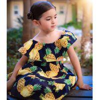 bf9e80830 Retail 2018 Summer Girl Clothing Sets Pineapple Print Beach Dresses  Shoulderless Top+Ruffles Long Skirt Kid Outfits for 1-6T
