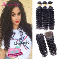 Wholesale Filipino Deep Curly Virgin Hair With Closure Bundles Deep Wave Human Hair Weave With Lace Closure X4 Top Bleached Knots