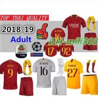 Wholesale roma football jersey online - 18 AS roma Home soccer Jerseys kit with socks DZEKO TOTTI DE ROSSI away Third As Football Camisetas Shirt Kit Maillot set