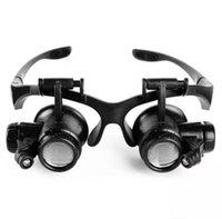 magnificar relógios venda por atacado-Tipo de óculos Lupa 10X 15X 20X 25X Eye Jóias Relógio Reparação Lupa Óculos Com 2 Luzes LED Novo Lupa Microscópio