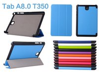 """Wholesale Leather Wallets China - Auto Sleep Wake Up 3 Folder Smart Kickstand Leather Wallet Case For Samsung Galaxy Tab A 8.0"""" 2017 T385 T380 T350 Stand Skin Cover 30pcs"""