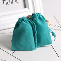 ingrosso gioielli del lago-100pcs 5x7cm Lake Blue Mini gioielli anello orecchino sacchetto di velluto imballaggio morbido velluto borse sacchetti con coulisse