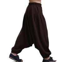 ingrosso pantaloni harem pantaloni-Pantaloni biforcuti da uomo, pantaloni gamba larga, pantaloni Harem pantaloni pantskirt pantaloni a zampa, pantaloni Harem, 16 COLORI taglia M-5XL