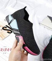 Wholesale pure cotton socks toes - 2018 High Quality multicolor bottom 2018 Low Sock Sneakers Speed Trainer Stretch Knit Pure Black Boots Sneaker With Box