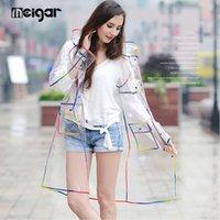 Wholesale Raincoats For Adults - L M EVA Waterproof Transparent Raincoat Fashionable Women Rainwear Rain Coat Jacket Rainbow Fringe Clothes Rain Gear For Ladies