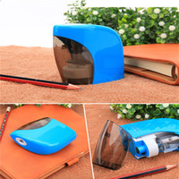 Wholesale Blue Sharpener - Pencil Sharpener Electric Automatic Touch Battery For Personal Home Office School Stationery Kids Children Free Shipping