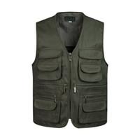 erkekler için askeri moda ceket toptan satış-Adam Yelekler Birçok Erkek Ceket Ile Kolsuz Boşaltma Moda Yelek Cepler Askeri Ceket Erkek Taktik Yelek Tişörtü