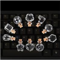 yağ cam şişe mantarları toptan satış-100 adet Mini Sevimli Temizle Mantar Tıpa Ile Boş Cam Şişeler Uçucu Yağ Kavanoz Küçük Isteyen Şişe DIY Hediye Araçları Ambalaj