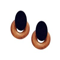 Wholesale natural earrings for women for sale - Group buy Hot Fashion Vintage Jewelry Handmade Small Round Brown Natural Wood Earrings For Women Famous Brand Jewelry Brincos