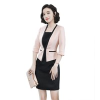 305bc0f44db women office dress suits   blazer plus size elegant pencil dress pink  blazer two piece set summer bodycon office dress set