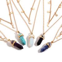 encanto de piedra opal al por mayor-Moon Bulk Charms 6 side Pendulum Bullet Collar de dos capas Opal Malaquita Piedra Natural Collar Colgante Cristales de Curación