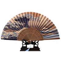 fãs de mão japoneses venda por atacado-100% Ventilador de Mão De Seda Real Monte Fuji Kanagawa Ondas Japonês Dobrável Ventilador Bolso Decoração de Natal