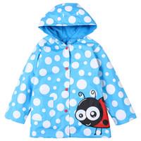 noktalı ceket toptan satış-Sevimli çocuklar için yağmurluk ceket karikatür hayvan cosplay nokta kapüşonlu ceket 2-6years çocuk erkek kız su geçirmez giyim giyim