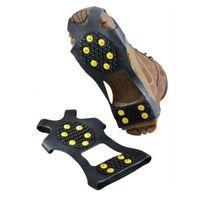 zapatos de hielo al por mayor-10 Tacos de hielo de acero Patines antideslizantes para el hielo y la nieve Picos de espigas Puños de crampones Picos de las zapatillas de deporte Zapatilla de escalada T2I069