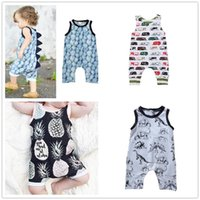 Wholesale boys summer cars clothes resale online - Baby Print Rompers Boy Girls car dinosaur Newborn Infant Baby Girls Boys Summer Clothes Jumpsuit Playsuits Y257
