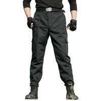 черные шорты оптовых-Мужские брюки-карго тактические военные рабочие брюки армия SWAT Airsoft Combat брюки мужчины черный повседневная свободные тонкий пейнтбол брюки