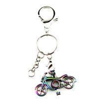 boncuk anahtarlıkları toptan satış-Gümüş Kaplama Anahtar Zincirleri Anahtarlık Anahtarlık Toka ile Gökkuşağı Renkli Motosiklet Inci Boncuk Kafes Locket Kolye Güzellik Hediye Y503