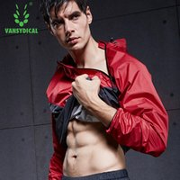 ingrosso formatori maschi-Men Sauna Sweat Jacket Body Dimagrante Shapers maschile Dimagrante Thermo running workout GYM maglietta sportiva Top