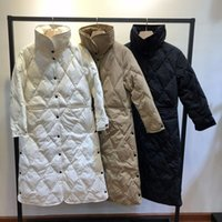 Wholesale down jackets uk for sale - Group buy US UK CA AU Women Autumn Winter Oversized Light Thin long Warm parka White duck Argyle Down Coat and Jacket Mint Female outwear