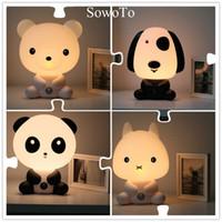 Wholesale led panda lamp - LED Table Lamps Baby Bedroom Night Light Cartoon Pets Rabbit Panda PVC Plastic Sleep Led Kid Lamp Bulb Nightlight for Children