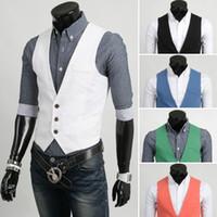 Wholesale Chaleco Slim Fit - Men Slim Fit White Vest Men Male Chaleco Gilet Pink Green Blue Black White Vest Coletes Masculinos Men Veste