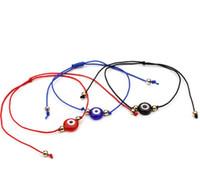 pulseira de corda vermelha sorte venda por atacado-20 pçs / lote Sorte Corda Olho Do Mal Sorte Vermelho Cabo Ajustável Pulseira DIY Jóias