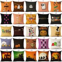 Wholesale home decor pillow covers resale online - Halloween Pillows Case cm pumpkin ghost print Pillow Cover Throw Cushion Cover Sofa Nap Cushion Covers Home Decor colors C4978