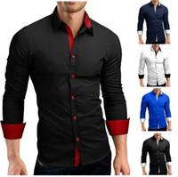 чёрный цвет воротник рубашка оптовых-Мужская рубашка Мужская рубашка высокого качества с длинным рукавом Повседневная хит цвет Slim Fit черные мужские рубашки