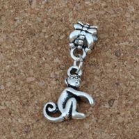 Wholesale monkey jewelry charms resale online - MIC Antiqued Silver Monkey Dangles Beads Fit European Charm Bracelet Jewelry DIY Metal A a