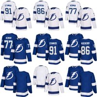 Wholesale Orange Bay - 2017-2018 Tampa Bay Lightning 91 Steven Stamkos 86 Nikita Kucherov 77 victor hedman Blank white blue Ice Hockey Jerseys Stitched