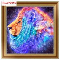 ingrosso dipinti a colori blu-Fai da te 5D pieno diamante ricamo sogno leone pittura diamante kit punto croce diamante mosaico decorazione della casa